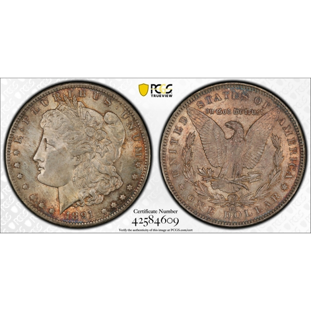 1891 CC $1 Morgan Dollar PCGS MS 64 Uncirculated CAC Approved Toned !