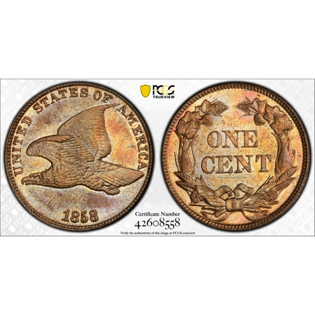 1858 1C Flying Eagle Cent PCGS MS 64 Uncirculated CAC Approved Toned !