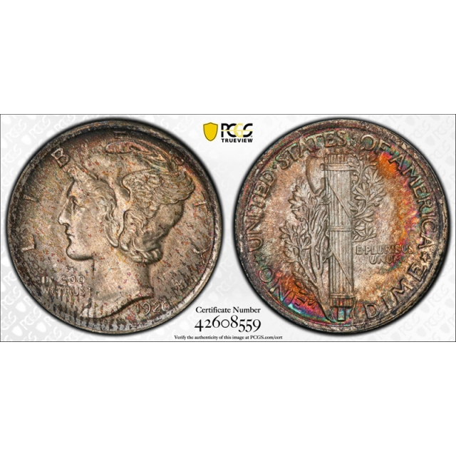 1920 10C Mercury Dime PCGS MS 66 FB Uncirculated Full Bands Toned Beauty !