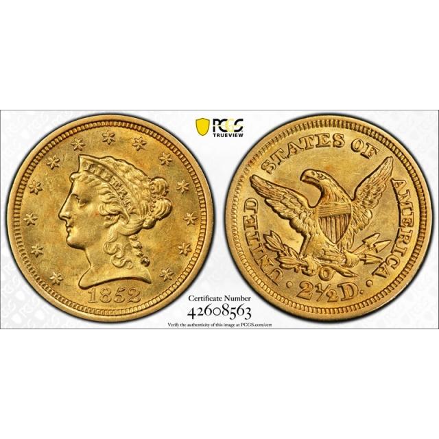 1852 O $2.50 Liberty Head Quarter Eagle PCGS MS 60 Uncirculated Exceptional !