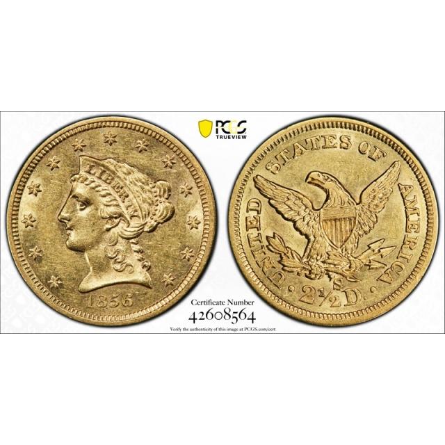 1856 S $2.50 Liberty Head Quarter Eagle PCGS AU 58 About Uncirculated !
