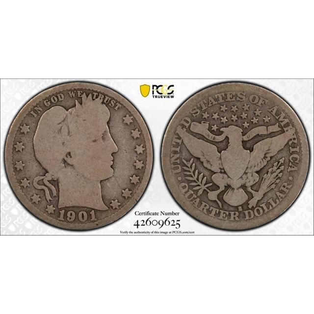 1901 S 25C Barber Quarter PCGS G 4 Good Key Date CAC Approved Cert#9625