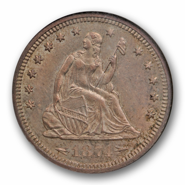 1874 S With Arrows Seated Liberty Quarter NGC MS 63 Uncirculated Toned