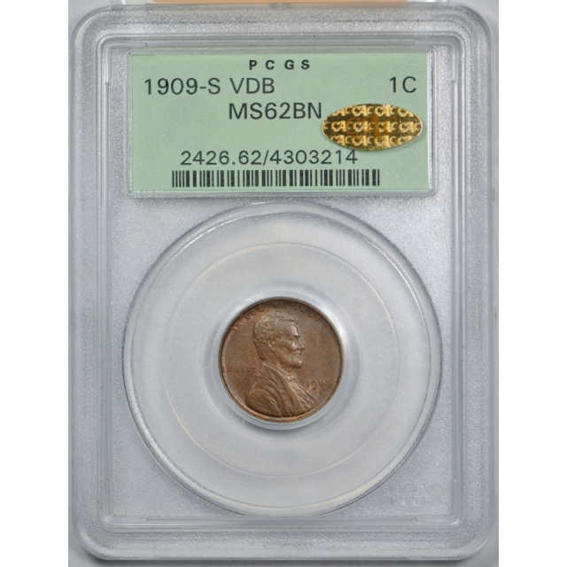 1909 S VDB 1C Lincoln Wheat Cent PCGS MS 62 BN OGH GOLD CAC Sticker !