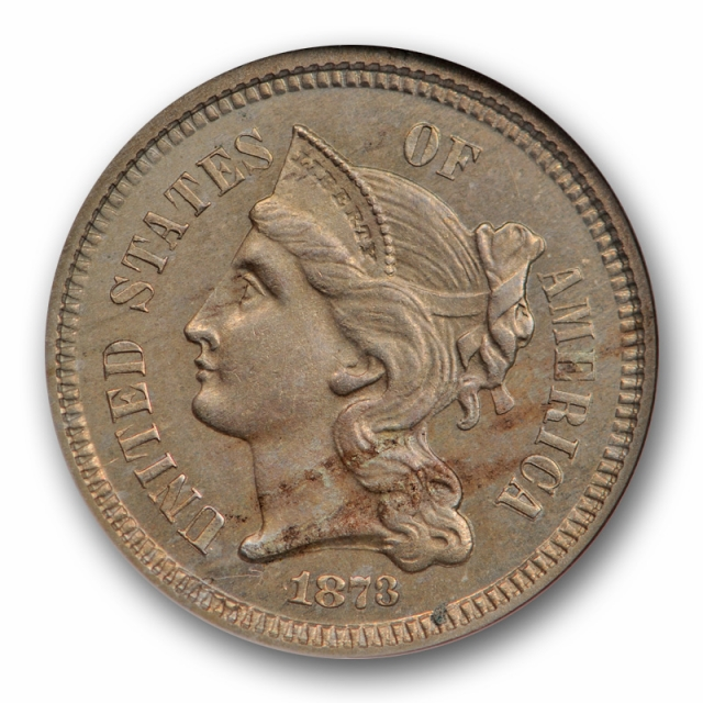 1873 3CN Proof Closed 3 Three Cent Nickel ANACS PF 63 PR Low Mintage Proof Type Old Holder