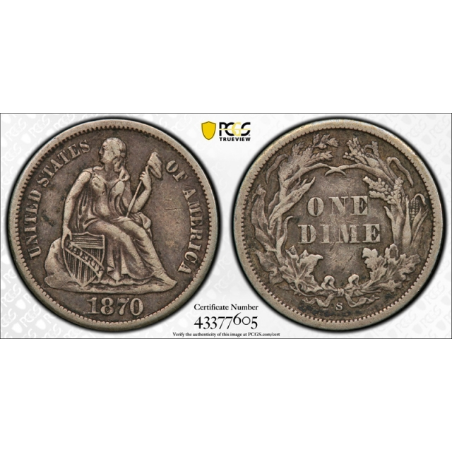 1870 S 10C Seated Liberty Dime PCGS VF 35 Very Fine to Extra Fine Key Date !