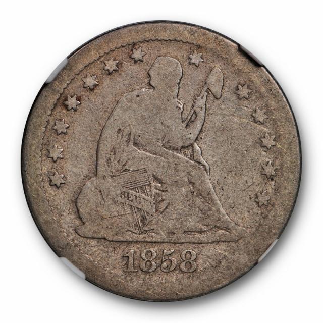 1858 S Seated Liberty Quarter NGC G 4 Good Looks Very Good! Key Date