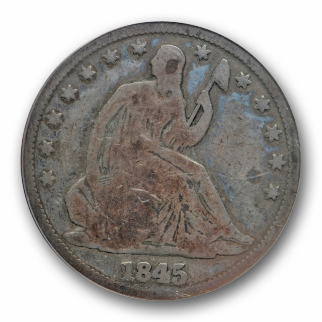 1845 O 50C Seated Liberty Half Dollar ANACS G 6 RPD Repunched Date WB 104 FS 301