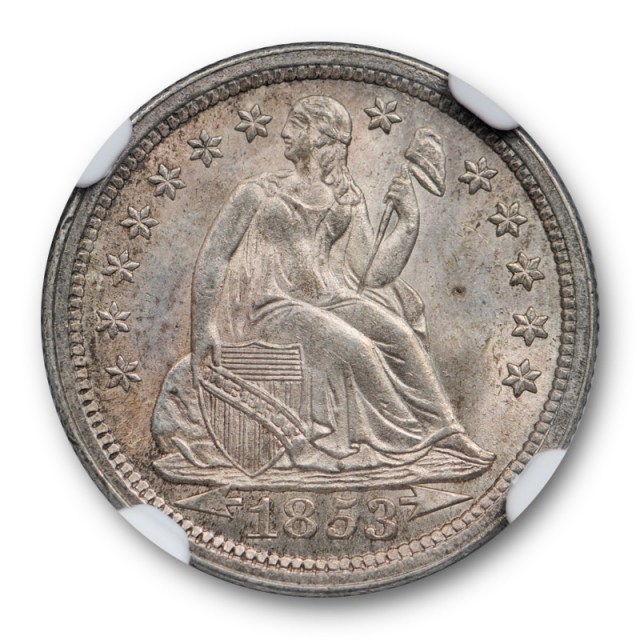 1853 10c With Arrows Seated Liberty Dime NGC MS 64 Uncirculated Sharp !