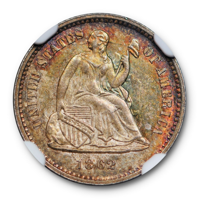 1862 Seated Half Dime H10C NGC MS 66 Uncirculated Civil War Date Attractively Toned !