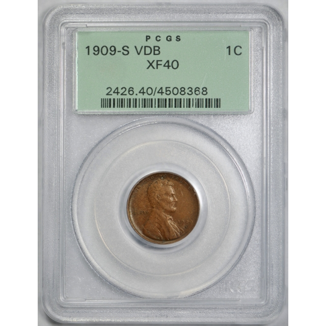 1909 S VDB 1C Lincoln Wheat Cent PCGS XF 40 Extra Fine OGH Key Date !
