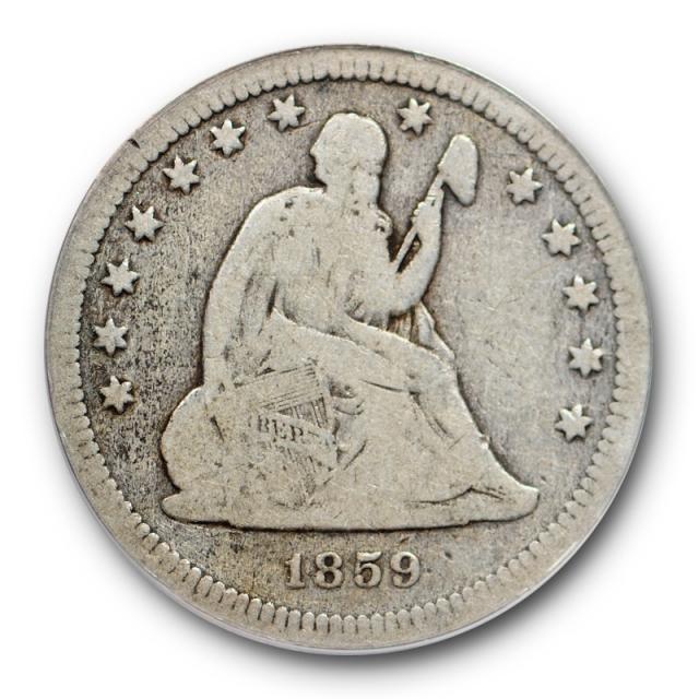 1859 S 25C Seated Liberty Quarter ANACS VG 8 Very Good Key Date Tough