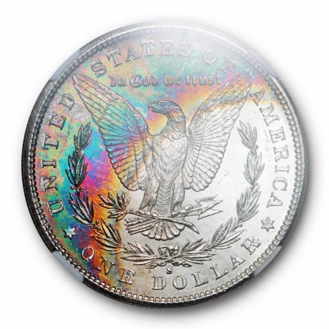 1881 S Morgan Dollar S$1 NGC MS 63 * Uncirculated Monster Toned Rainbow Cert#75001