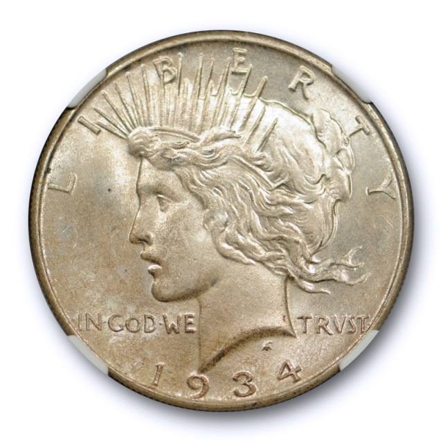 1934 $1 Peace Dollar NGC MS 64 Uncirculated Better Date Lightly Toned