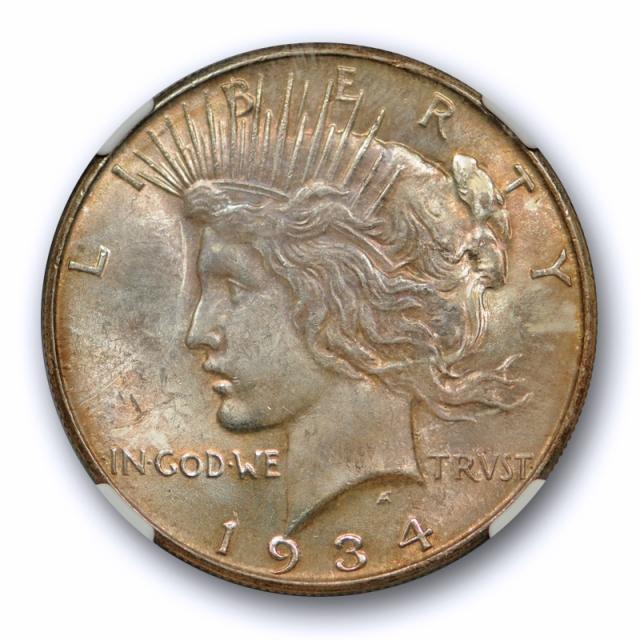 1934 $1 Peace Dollar NGC MS 63+ Plus Grade Better Date Heavily Toned