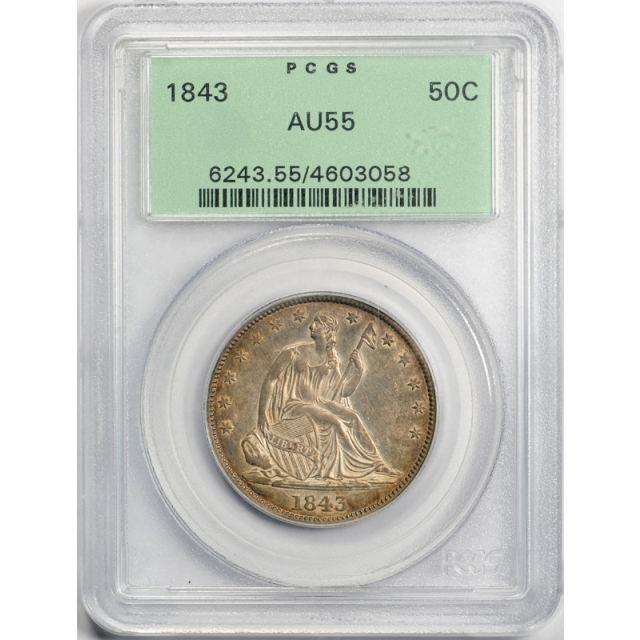 1843 50C Seated Liberty Half Dollar PCGS AU 55 About Uncirculated OGH Toned Nice !