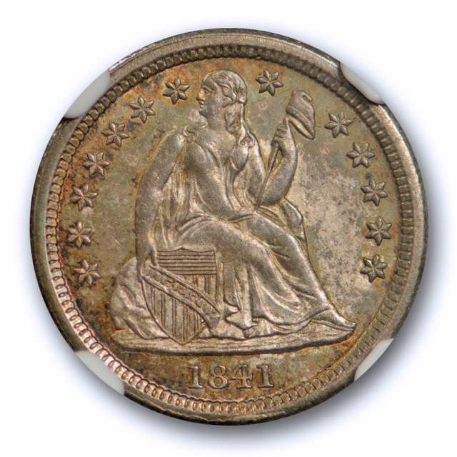1841 10c Seated Liberty Dime NGC MS 64 Uncirculated Attractively Toned Original