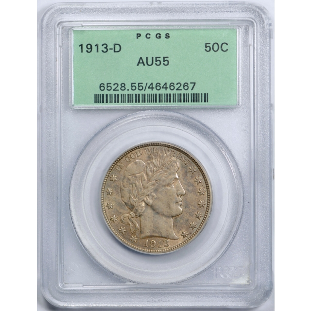 1913 D 50C Barber Half Dollar PCGS AU 55 About About Uncirculated Old Holder OGH