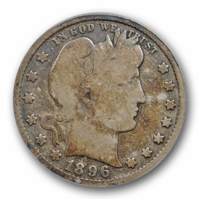 1896 S 25C Barber Quarter ANACS VG 8 Very Good Strong Full Rims Original Toned