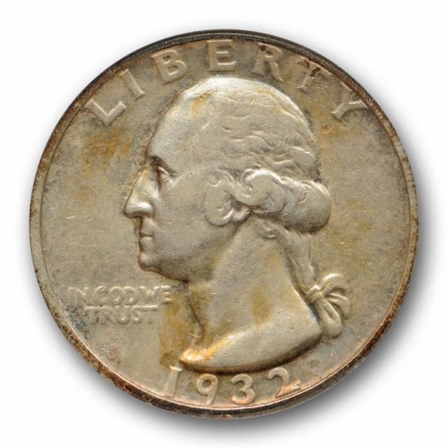 1932 D 25C Washington Quarter ANACS EF 40 XF Extra Fine Key Date Toned