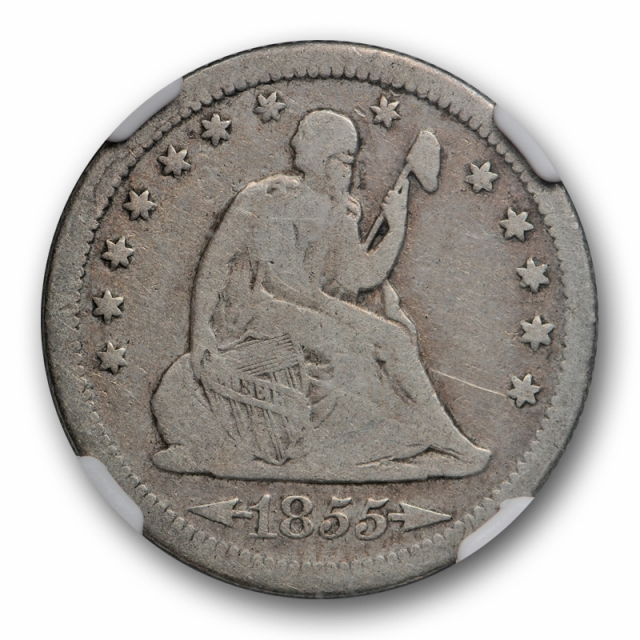 1855 S 25c Seated Liberty Quarter NGC VG 8 Very Good Better Date San Francisco Mint