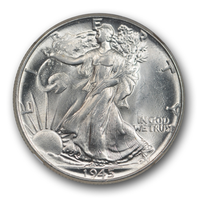 1945 50c Walking Liberty Half Dollar NGC MS 63 CAC Approved Missing Initials Variety