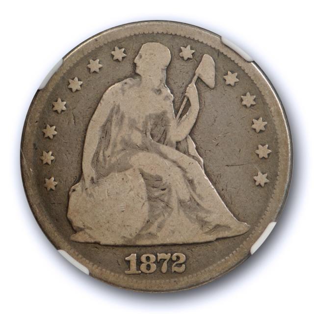 1872 $1 Seated Liberty Dollar NGC G 6 Good to Very Good Original Toned Coin