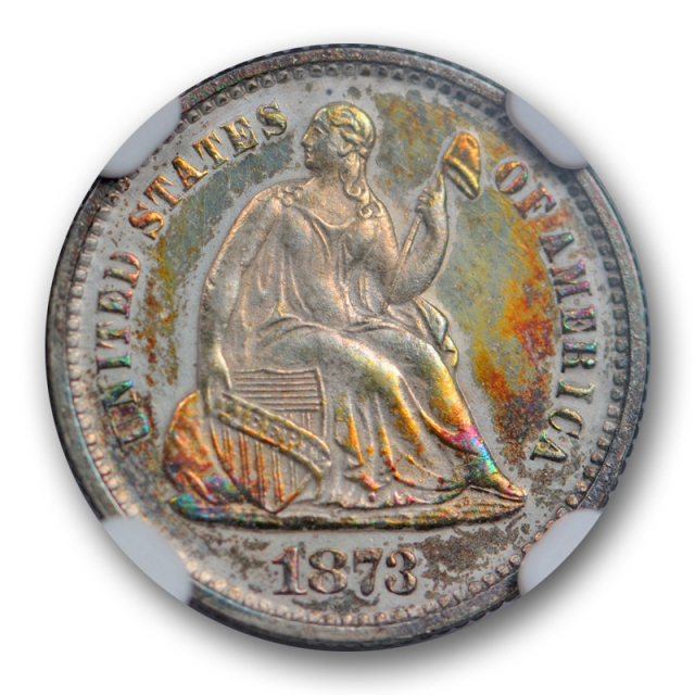 1873 Seated Half Dime NGC PF 62 Proof Colorful Toned Beauty Low Mintage Proof Type !