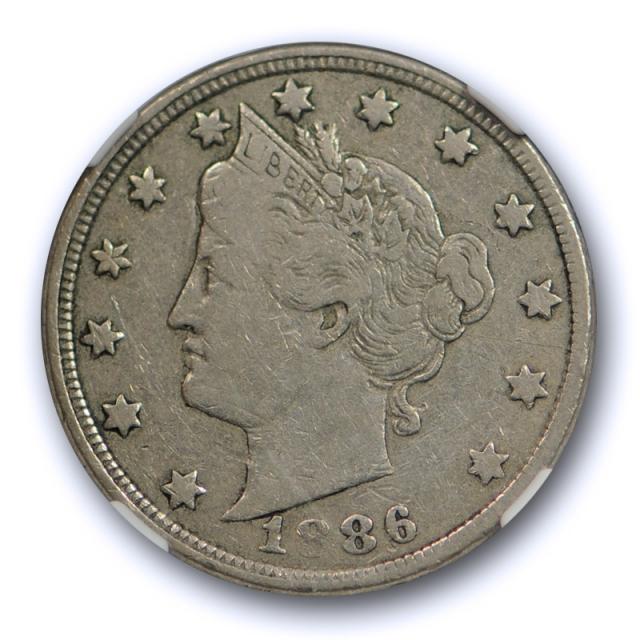 1886 5c Liberty Head Nickel NGC F 15 Fine to Very Fine Key Date Original Coin