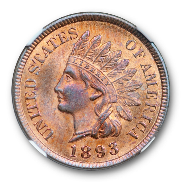 1893 1c Indian Head Cent NGC MS 64 RB Uncirculated Red Brown Pretty !