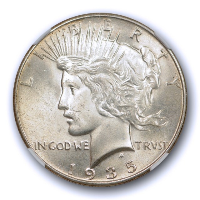 1935 $1 Peace Dollar NGC MS 64 Uncirculated Better Date Flashy Coin Toned Cert#5005