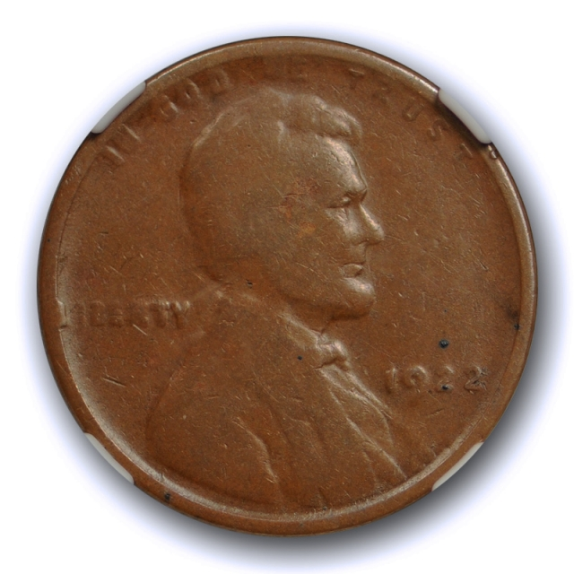 1922 1c No D Strong Reverse Lincoln Wheat Cent NGC VG 8 BN Very Good Key Variety Coin !