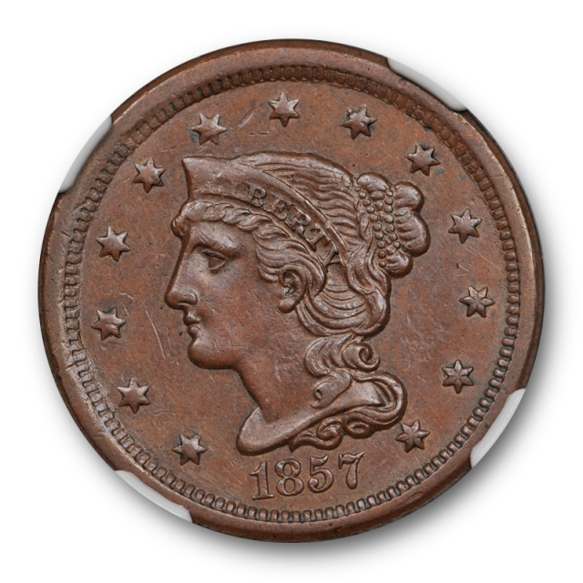 1857 1c Small Date Braided Hair Large Cent NGC AU 55 About Uncirculated Key Date