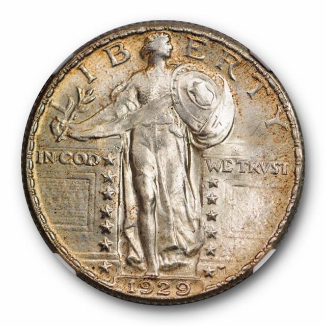 1929 25c Standing Liberty Quarter NGC MS 66 Uncirculated Golden Toned