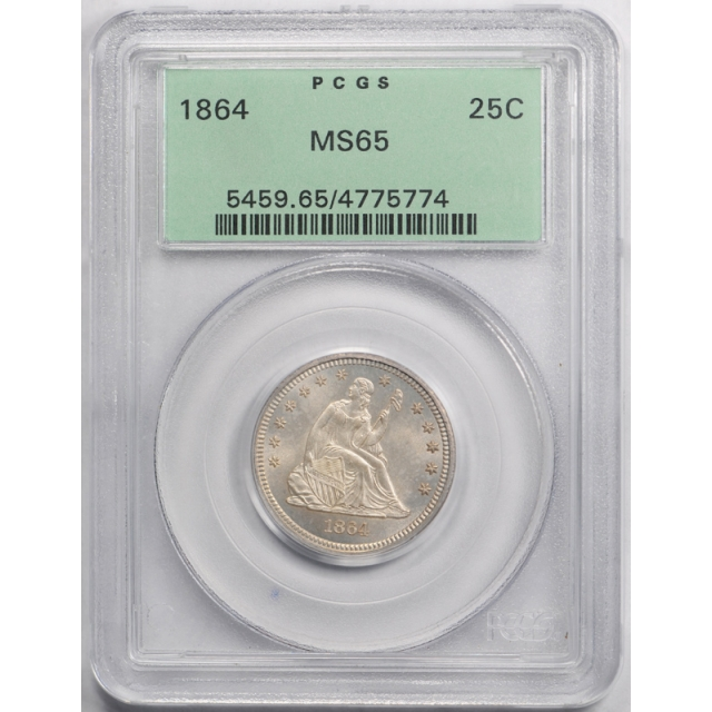 1864 25C Seated Liberty Quarter PCGS MS 65 Uncirculated OGH Exceptional Coin !