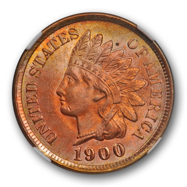 1900 1c Indian Head Cent NGC MS 65 RD Uncirculated Full Red Toned Pretty