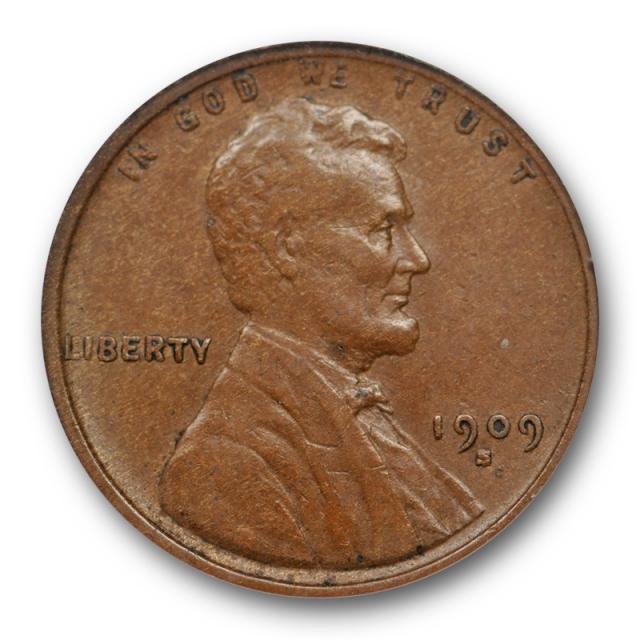 "1909 S VDB 1C Lincoln Wheat Cent ANACS EF 45 XF Extra Fine Key Date ""Weak VDB"""