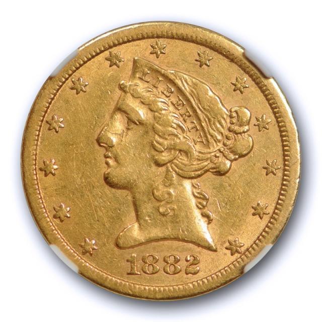1882 CC $5 Liberty Head Half Eagle NGC AU 53 About Uncirculated Carson City Mint