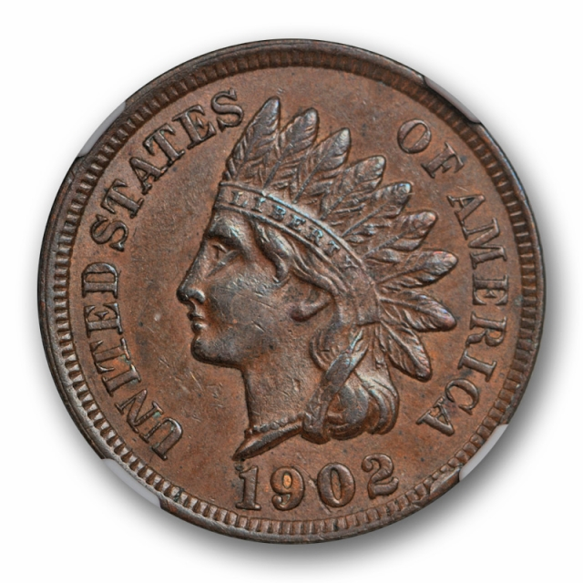 1902 Indian Head Cent NGC AU 55 About Uncirculated Die Gouge in Eye Snow 4