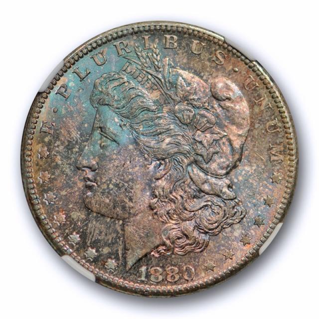 1880 S $1 Morgan Dollar NGC MS 64 Uncirculated Blue & Purple Toned Unique