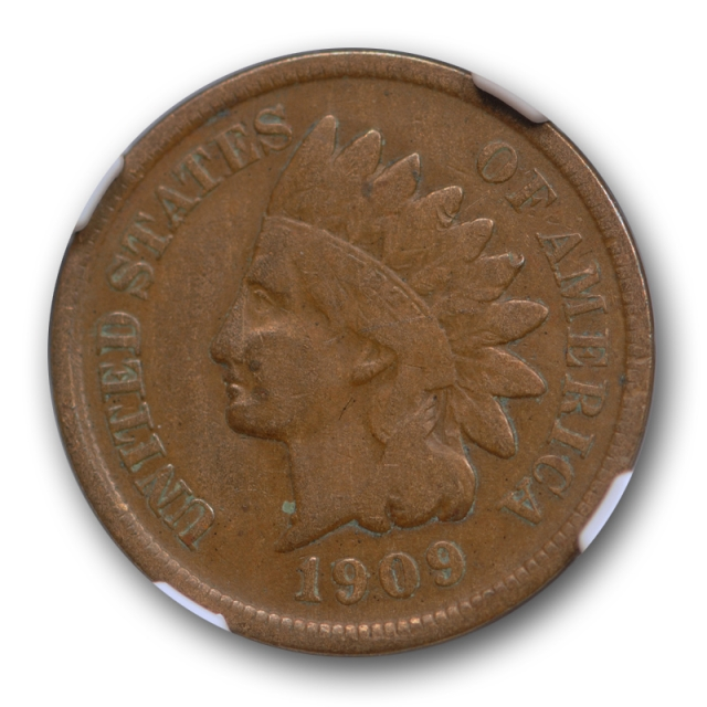 1909 S 1c Indian Head Cent NGC F 15 Fine to Very Fine Key Date Low Mintage Coin !