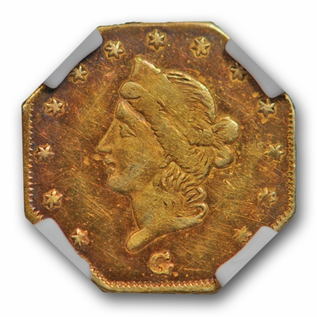 1866 California Fractional Gold BG-737 NGC MS 61 Uncirculated Octag