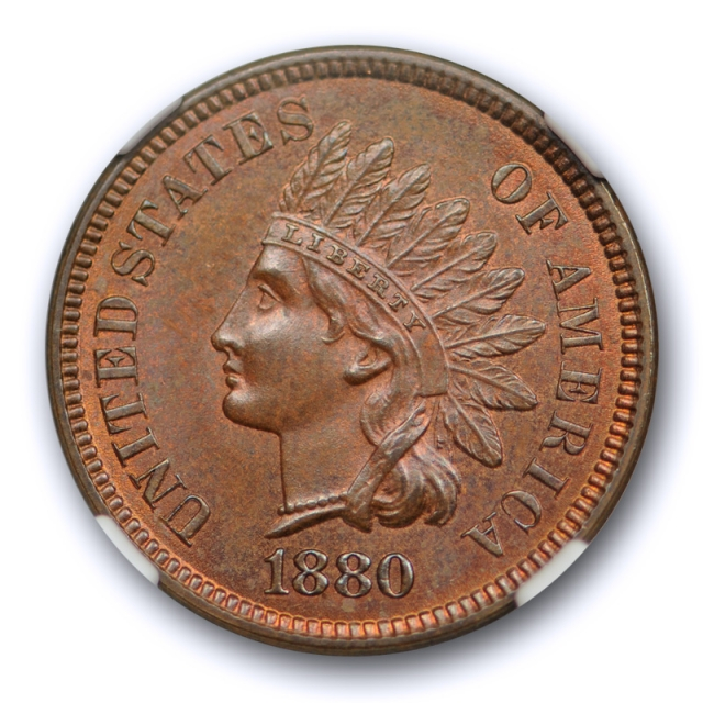 1880 1c Indian Head Cent NGC MS 64 RB Uncirculated Red Brown Exceptional Coin !