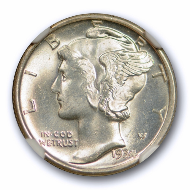 1934 D 10c Mercury Dime NGC MS 65 FB Uncirculated Full Bands CAC Approved !