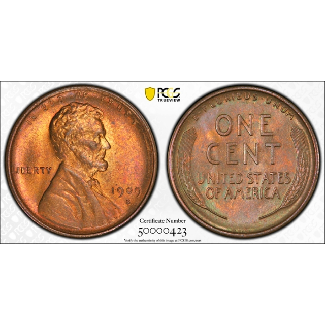 1909 S VDB 1C Lincoln Wheat Cent PCGS MS 65 RB Uncirculated CAC Approved Cert#0423