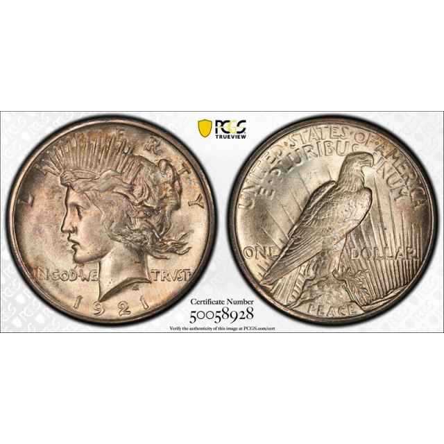 1921 $1 Peace Dollar High Relief PCGS MS 64 Uncirculated Key Date Cert#8928