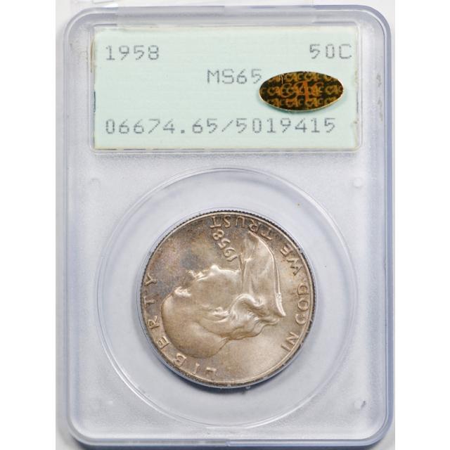 1958 50C Franklin Half Dollar PCGS MS 65 CAC Gold Sticker Pop 3 !