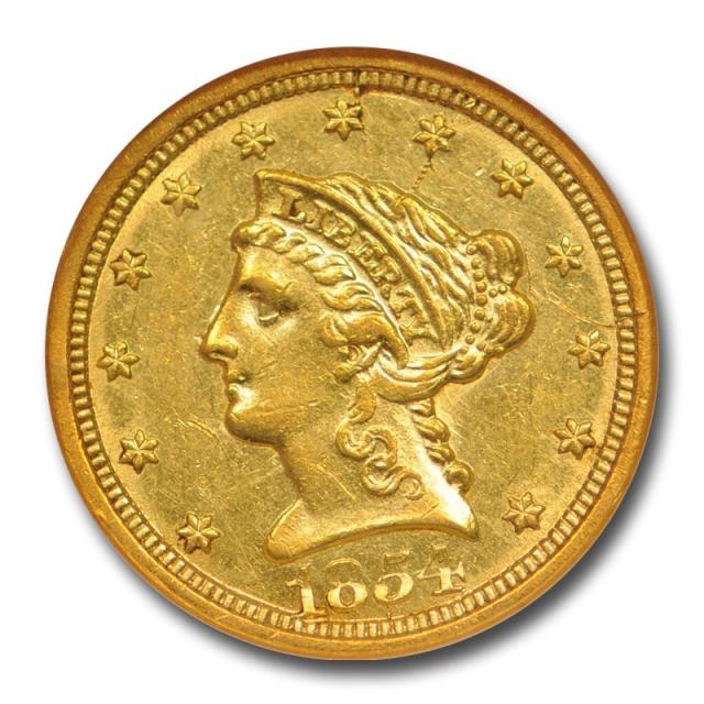 1854 O $2.5 Quarter Eagle Liberty Head Gold NGC AU 55 Old Holder Lustrous !