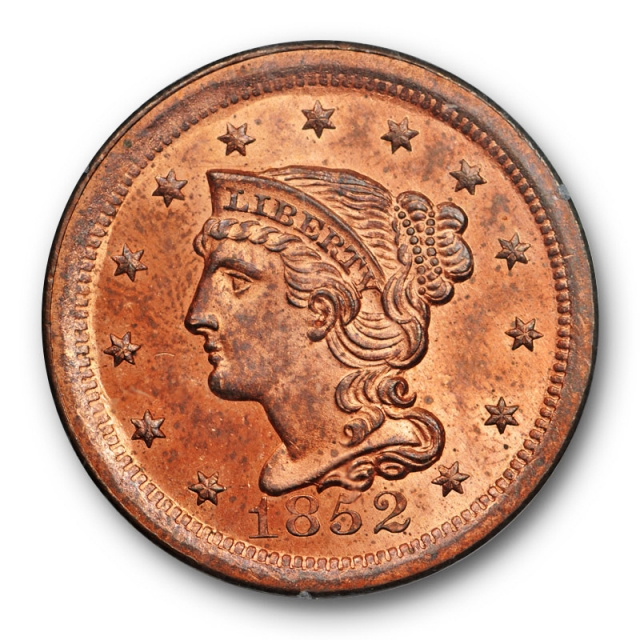 1852 1C Braided Hair Large Cent PCGS MS 63 RD Red Uncirculated Rattler Undergraded !