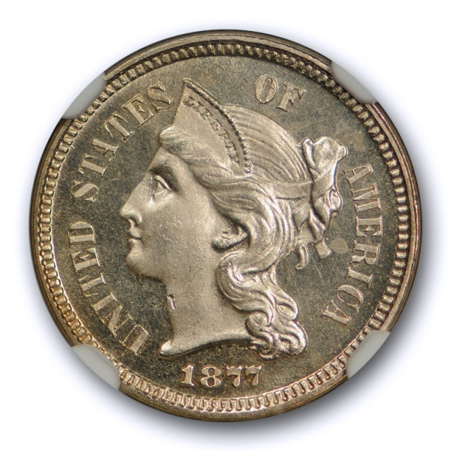 1877 Three Cent Piece NGC PF 64 Cameo Proof Key Date Flashy Coin !